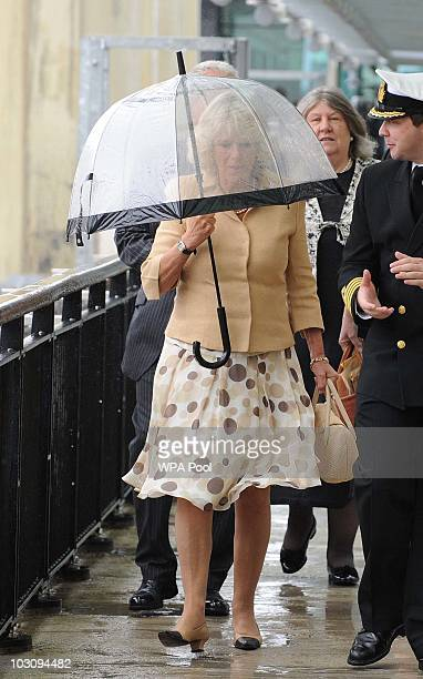 Camilla Duchess Of Cornwall arrives to board the Cunard Liner 'Queen Victoria while on her visit to Merseyside on July 26th in Merseyside United...