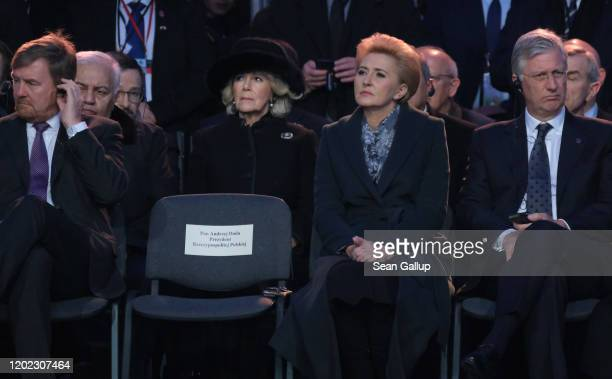 Camilla, Duchess of Cornwall, , as well as King Willem of the Netherlands , and Polish First Lady Agata Kornhauser-Duda attend the official ceremony...