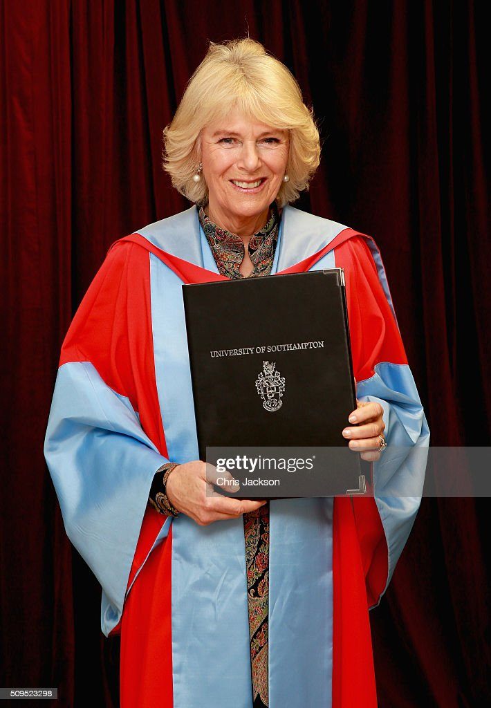 Camilla, Duchess Of Cornwall at the University Of Southampton where she was awarded an Honourary Doctorate on February 11, 2016 in Southampton, England.