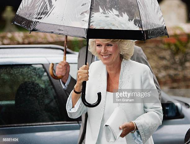 Camilla Duchess of Cornwall at the wedding of her son Tom ParkerBowles to his bride Sara Buys after their marriage held at St Nicholas Church at...
