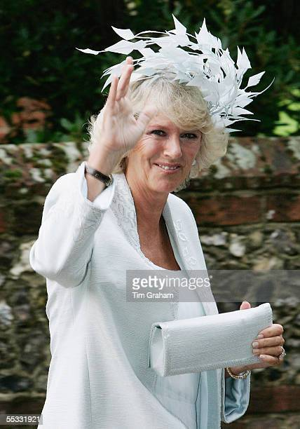 Camilla Duchess of Cornwall at the wedding of her son Tom ParkerBowles to his bride Sara Buys Their marriage ceremony was held at St Nicholas Church...
