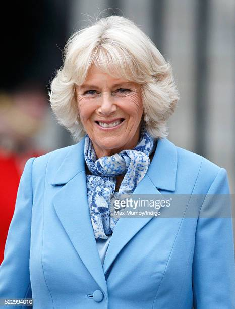 Camilla Duchess of Cornwall attends a beacon lighting ceremony to celebrate Queen Elizabeth II's 90th birthday on April 21 2016 in Windsor England...