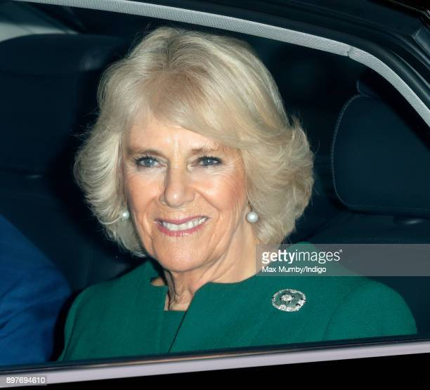 Camilla Duchess of Cornwall attends a Christmas lunch for members of the Royal Family hosted by Queen Elizabeth II at Buckingham Palace on December...