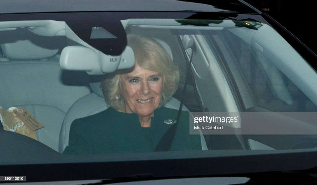 Camilla, Duchess of Cornwall attends a Christmas lunch for the extended Royal Family at Buckingham Palace on December 20, 2017 in London, England.