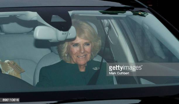 Camilla Duchess of Cornwall attends a Christmas lunch for the extended Royal Family at Buckingham Palace on December 20 2017 in London England