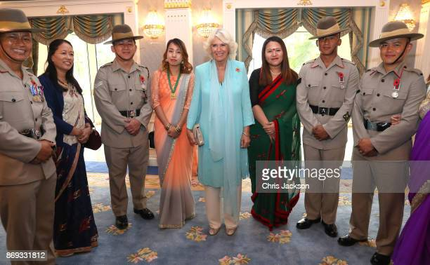 Camilla Duchess of Cornwall attends a Gurkha Reception where she met soldiers families and their children at Edinburgh Palace during a visit on...