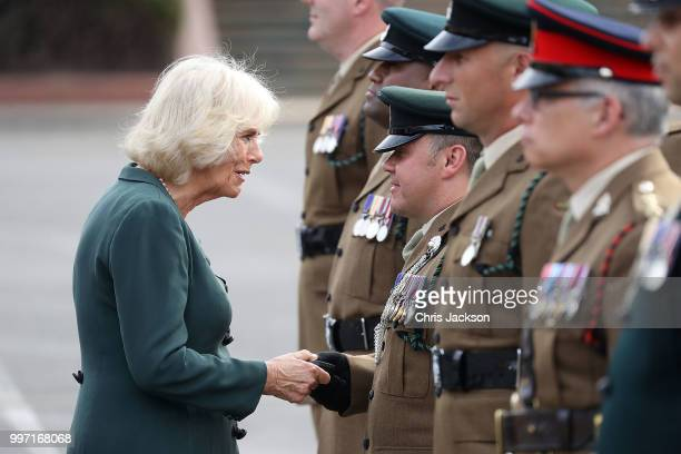 during a ALDERSHOT ENGLAND JULY 12 Camilla Duchess of Cornwall attends a Medal Parade as she visits the New Normandy Barracks on July 12 2018 in...