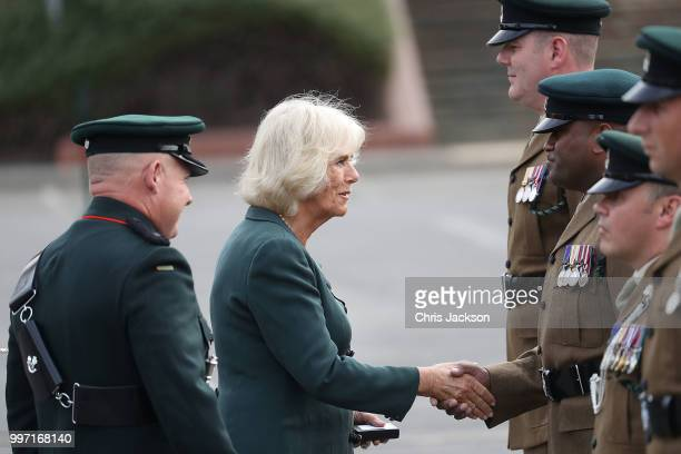 Camilla Duchess of Cornwall attends a Medal Parade as she visits the New Normandy Barracks on July 12 2018 in Aldershot England