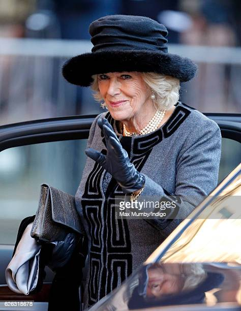 Camilla Duchess of Cornwall attends a Memorial Service for Gerald Grosvenor 6th Duke of Westminster at Chester Cathedral on November 28 2016 in...