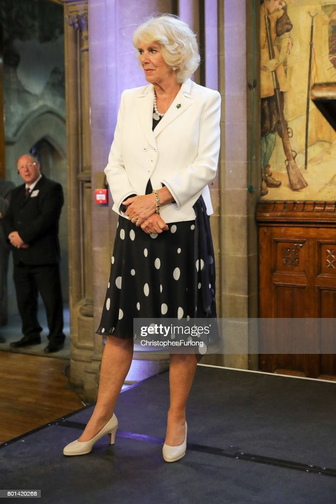 Camilla, Duchess of Cornwall attends a reception in Manchester Town Hall to thank those involved during the Manchester Attack on June 26, 2017 in Manchester, England. Earlier in the day the Prince of Wales and the Duchess visited the scene of the suicide attack at the Manchester Arena. During their visit they both wore a Worker Bee badge, the symbol of the City of Manchester, which has now taken on more credence by people as a sign of resilience.