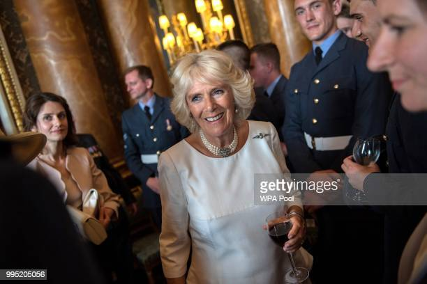 Camilla Duchess of Cornwall attends a reception to mark the centenary of the Royal Air Force at Buckingham Palace on July 10 in London England