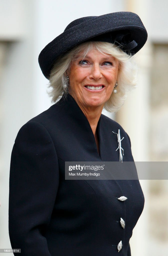 Camilla, Duchess of Cornwall attends a requiem mass for Hugh van Cutsem who passed away on September 2nd 2013, at Brentwood Cathedral on September 11, 2013 in Brentwood, England.