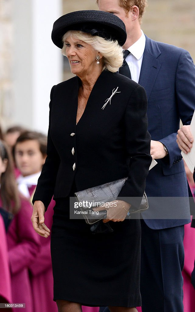 Camilla, Duchess of Cornwall attends a Requiem Mass for Hugh van Cutsem who passed away on September 2nd 2013 at Brentwood Cathedral on September 11, 2013 in Brentwood, England.