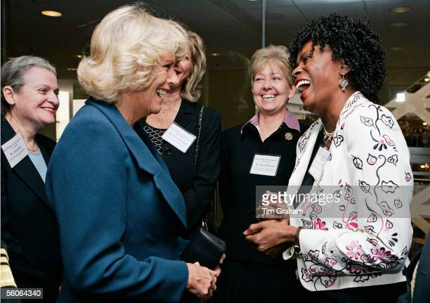 Camilla Duchess of Cornwall attends a seminar on Osteoporosis at the National Institute of Health and chats to sufferer Janet Hubert an actress on...