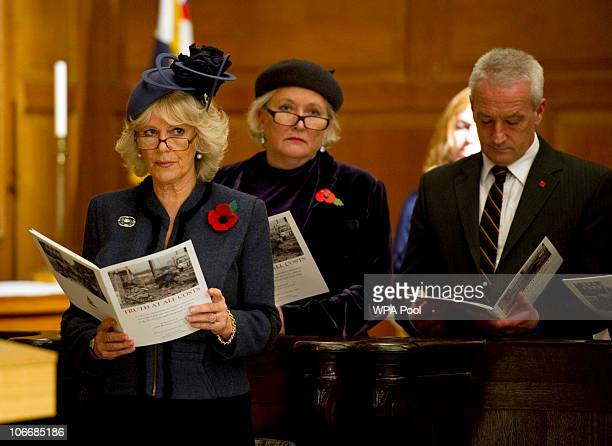 Camilla Duchess of Cornwall attends a service at St Bride's Church November 10 2010 in London England The service commemorated journalists cameramen...