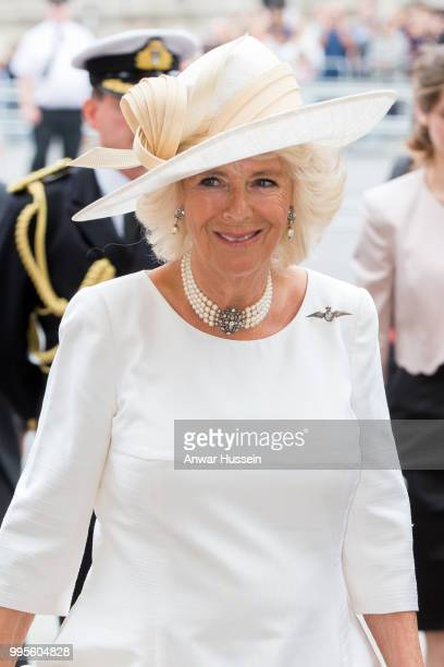 Camilla Duchess of Cornwall attends a service at Westminster Abbey to mark the centenary of the Royal Air Force on July 10 2018 in London England