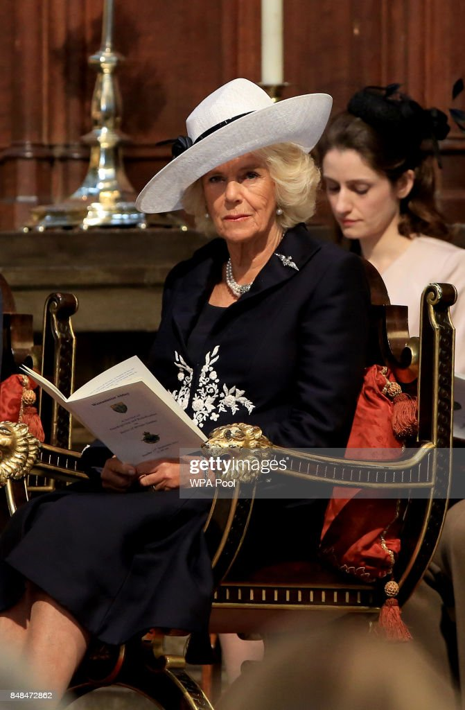 Camilla, Duchess of Cornwall attends a service marking the 77th anniversary of the Battle of Britain at Westminster Abbey on September 17, 2017 in London, England. The annual service remembers the pilots and aircrew of the Royal Air Force who lost their lives in the 1940 Battle of Britain during World War II.
