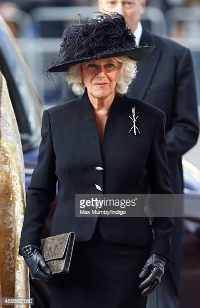 Camilla Duchess of Cornwall attends a service of thanksgiving for Lady Mary Soames at Westminster Abbey on November 20 2014 in London England Lady...