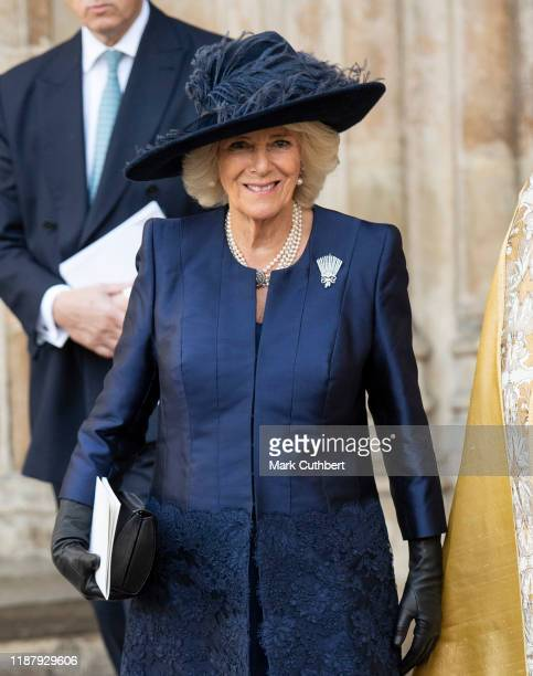 Camilla Duchess of Cornwall attends a Service of Thanksgiving for the life and work of Sir Donald Gosling at Westminster Abbey on December 11 2019 in...