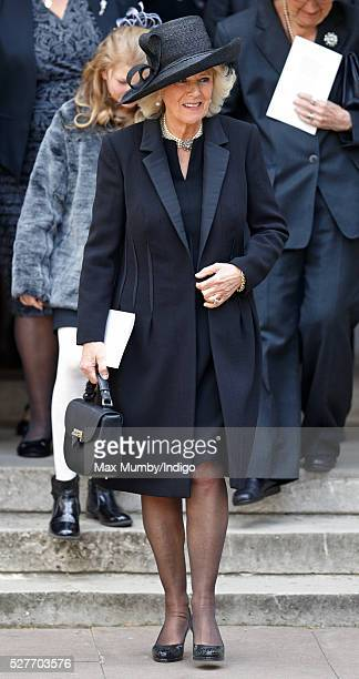 Camilla Duchess of Cornwall attends a Service of Thanksgiving for the life of Geoffrey Howe at St Margaret's Church Westminster Abbey on May 3 2016...
