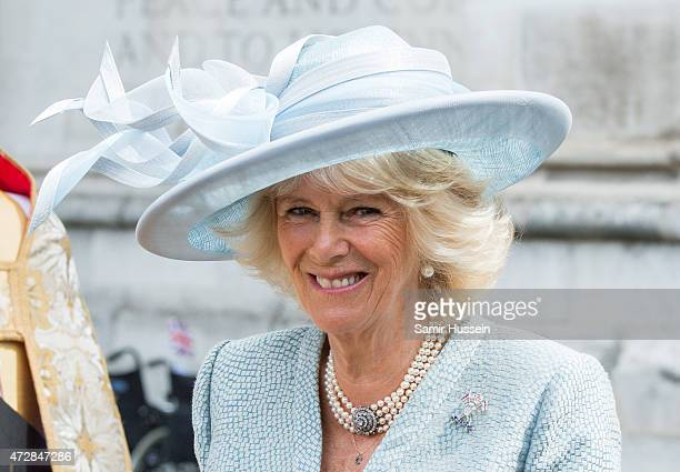 Camilla Duchess of Cornwall attends a Service of Thanksgiving to mark the 70th anniversary of Victory in Europe at Westminster Abbey on May 10 2015...
