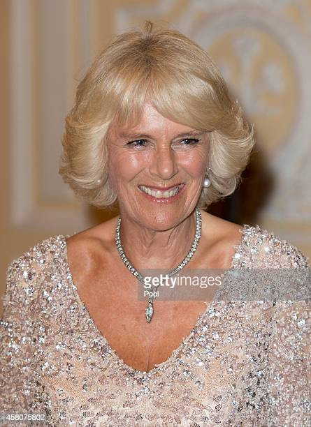 Camilla Duchess of Cornwall attends a State Dinner at the Presidential Palace on October 29 2014 in Bogota Colombia The Royal Couple are on a four...