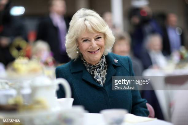 Camilla Duchess Of Cornwall attends a Tea Party on her visit of Bristol on February 14 2017 in Bristol England