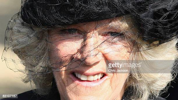 Camilla Duchess of Cornwall attends a thanksgiving service for Gerald Ward godfather of Prince Harry at St Mary's Church Chiltern Foliat on October 3...
