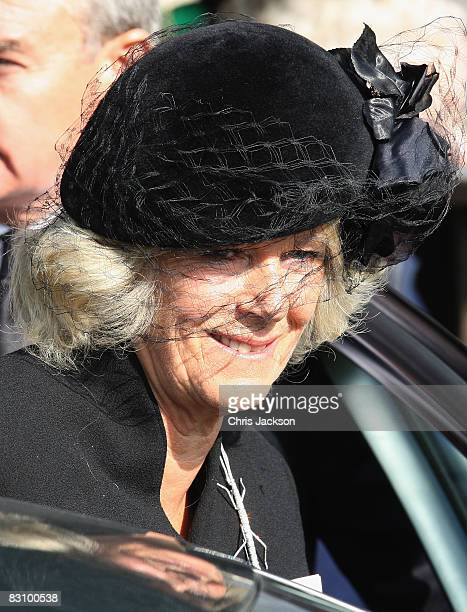 Camilla Duchess of Cornwall attends a thanksgiving service for Prince Harry's godfather Gerald Ward at St Mary's Church Chiltern Foliat on October 3...