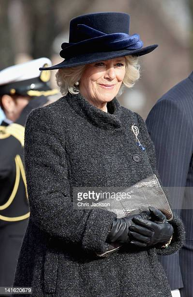 Camilla, Duchess of Cornwall attends a wreath laying ceremony at the National Monument at Akershus Fortress on March 20, 2012 in Oslo, Norway. Prince...