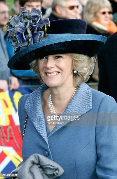 Camilla, Duchess of Cornwall, attends Christmas Day service at Sandringham Church on December 25, 2005 in King's Lynn, England.