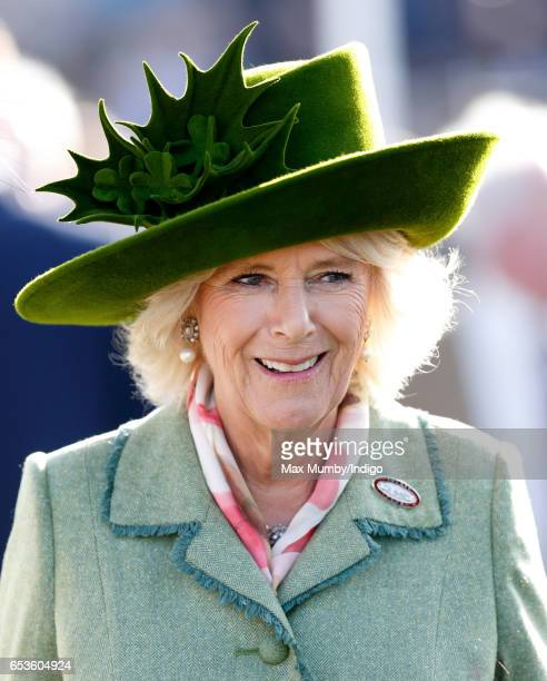 Camilla Duchess of Cornwall attends day 2 'Ladies Day' of the Cheltenham Festival at Cheltenham Racecourse on March 15 2017 in Cheltenham England