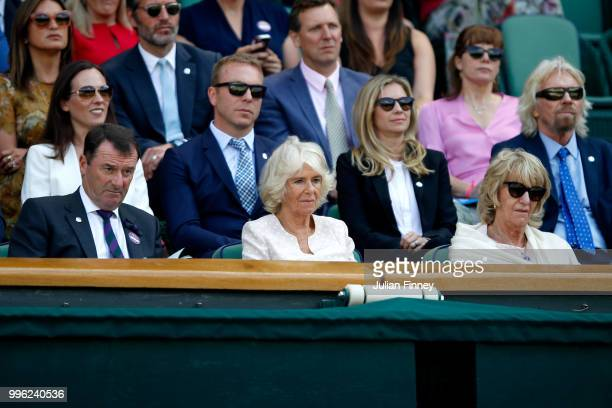 Camilla Duchess of Cornwall attends day nine of the Wimbledon Lawn Tennis Championships at All England Lawn Tennis and Croquet Club on July 11 2018...