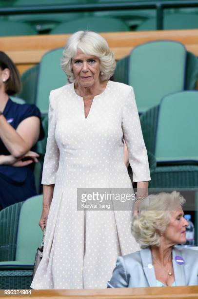 Camilla Duchess of Cornwall attends day nine of the Wimbledon Tennis Championships at the All England Lawn Tennis and Croquet Club on July 11 2018 in...