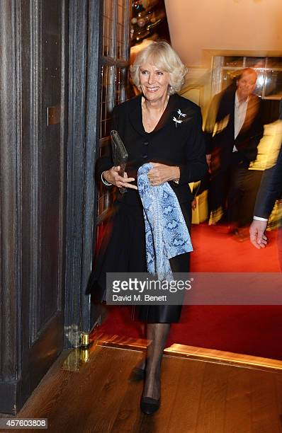 Camilla Duchess of Cornwall attends Fortnum Mason's Diamond Jubilee Tea Salon for the launch of Tom Parker Bowles' new book 'Let's Eat Meat' at...