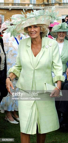 Camilla, Duchess of Cornwall, attends her first Buckingham Palace Garden Party since her marriage to Prince Charles, on July 19, 2005 in London,...