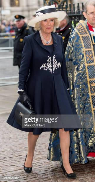 Camilla Duchess of Cornwall attends the 2018 Commonwealth Day service at Westminster Abbey on March 12 2018 in London England
