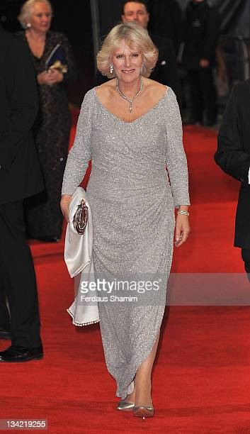 Camilla Duchess of Cornwall attends the 3D screening of Hugo as part of the Royal Film Performance at Odeon Leicester Square on November 28 2011 in...
