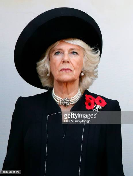 Camilla Duchess of Cornwall attends the annual Remembrance Sunday Service at The Cenotaph on November 11 2018 in London England The armistice ending...