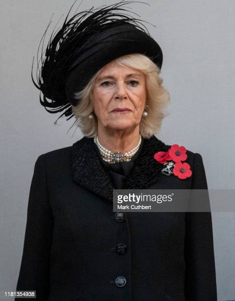Camilla Duchess of Cornwall attends the annual Remembrance Sunday memorial at The Cenotaph on November 10 2019 in London England