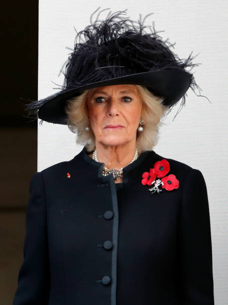 Camilla Duchess of Cornwall attends the annual Remembrance Sunday Service at The Cenotaph on November 12 2017 in London England This year marks the...