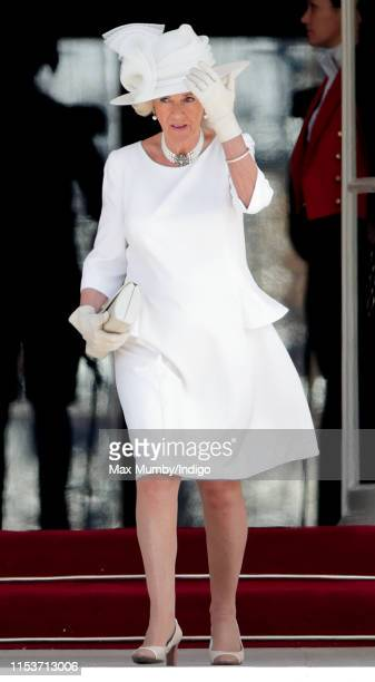 Camilla, Duchess of Cornwall attends the Ceremonial Welcome in the Buckingham Palace Garden for President Trump on day 1 of his State Visit to the UK...