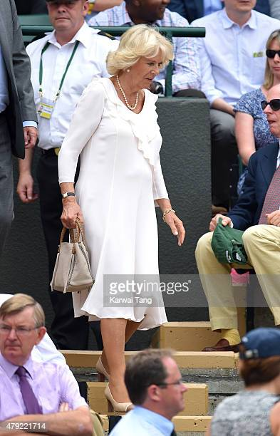 Camilla Duchess of Cornwall attends the Christina McHale v Sabine Lisicki match on day four of the Wimbledon Tennis Championships at Wimbledon on...