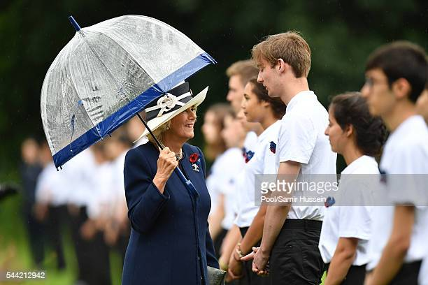 Camilla Duchess of Cornwall attends the commemoration of the Battle of the Somme at the Commonwealth War Graves Commission Thiepval Memorial on July...