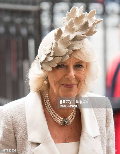 Camilla Duchess of Cornwall attends the Commonwealth day observance service at Westminster Abbey on March 10 2014 in London England