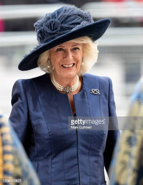 Camilla Duchess of Cornwall attends the Commonwealth Day Service 2020 at Westminster Abbey on March 9 2020 in London England