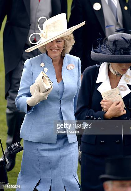 Camilla Duchess of Cornwall attends the first day of Royal Ascot 2005 at York Racecourse in York England on June 14 2005 This year's Royal Meeting is...