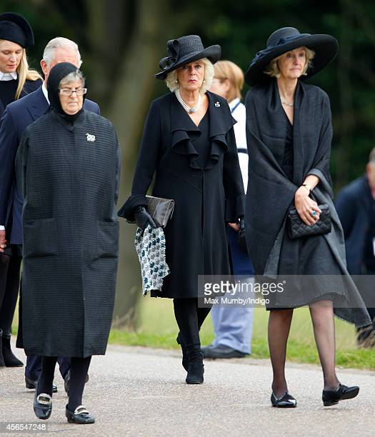 Camilla Duchess of Cornwall attends the funeral of Deborah Dowager Duchess of Devonshire at St Peter's Church Edensor on October 2 2014 in Chatsworth...