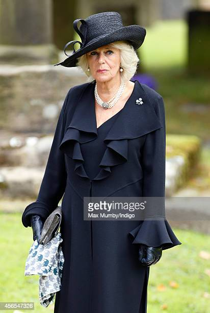 Camilla, Duchess of Cornwall attends the funeral of Deborah, Dowager Duchess of Devonshire at St Peter's Church, Edensor on October 2, 2014 in...