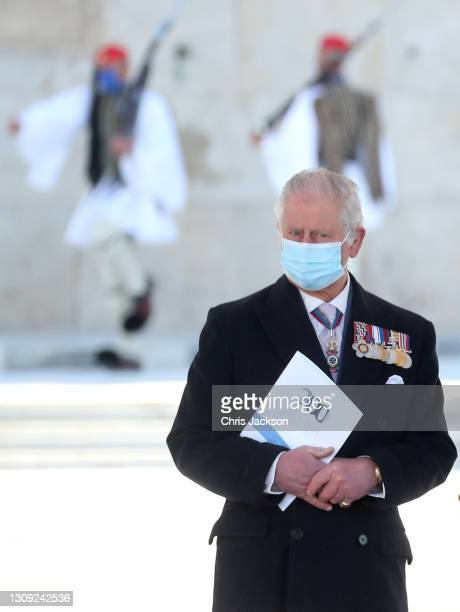 Camilla, Duchess of Cornwall attends the Greek Independence day Military Parade in Syntagma Square on March 25, 2021 in Athens, Greece. The visit is...
